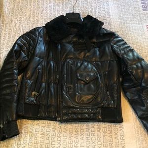Black leather down filled biker jacket